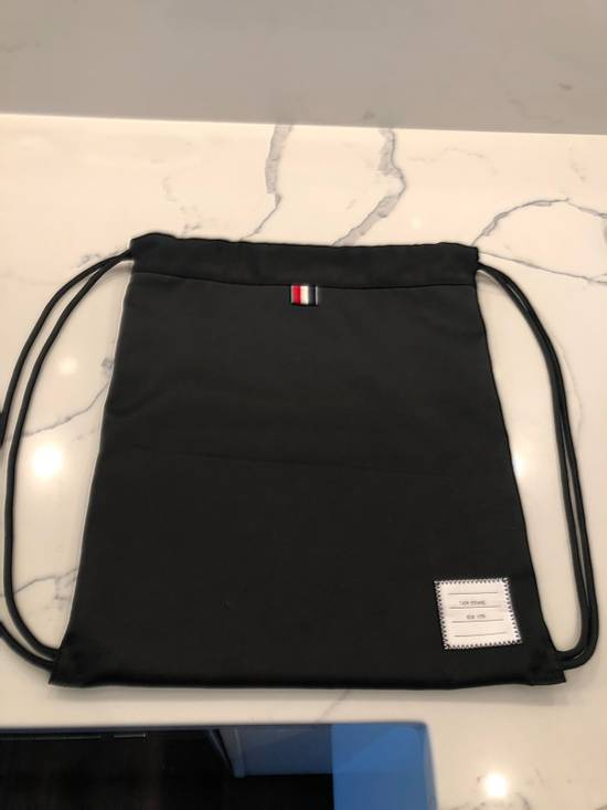 Thom Browne Drawstring Bag In Black Size ONE SIZE