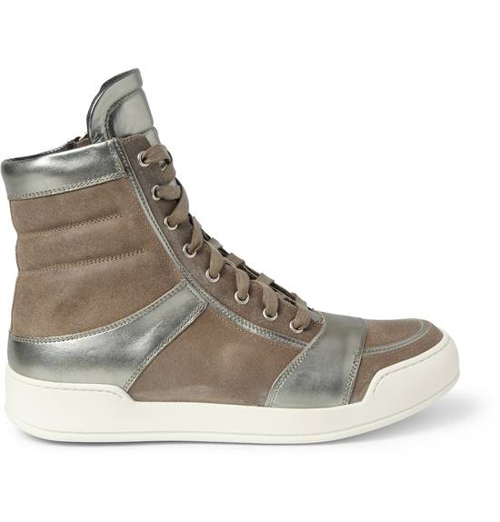 Balmain Brown Suede Silver Leather High Top Sneakers Size US 8 / EU 41 - 3