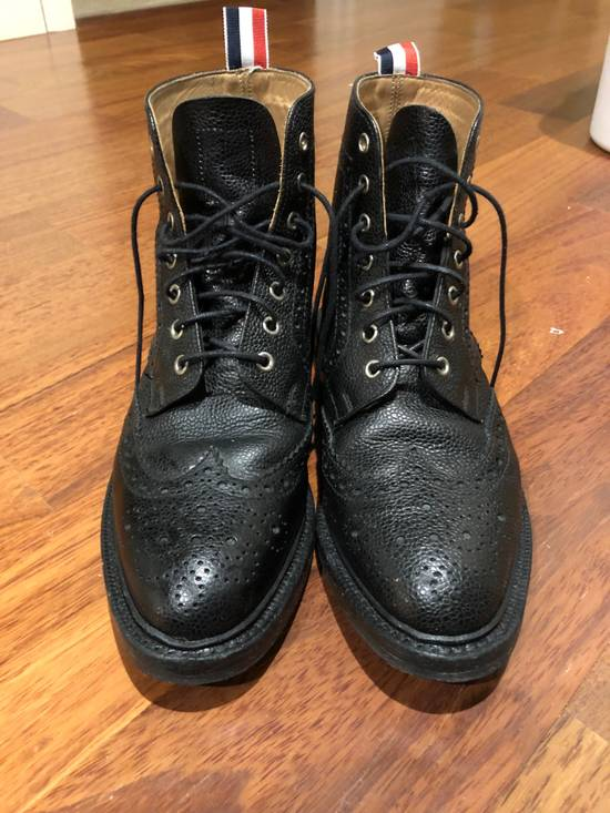 Thom Browne Black Classic Wingtip Boots Size US 8.5 / EU 41-42 - 1