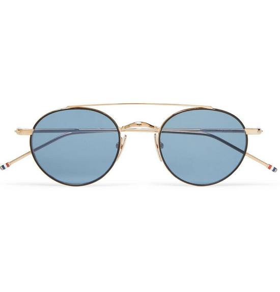 Thom Browne Round-Frame 12K Gold-Tone Sunglasses TB-101-D-T-BLK-GLD Size ONE SIZE