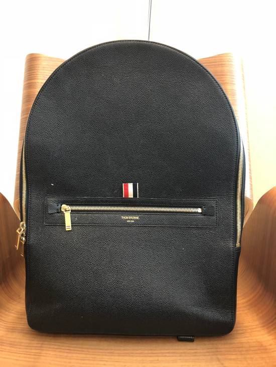 Thom Browne Black Pebble Leather Backpack Size ONE SIZE
