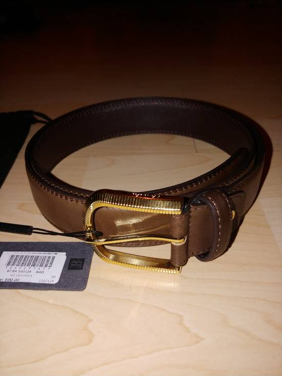 Balmain Balmain brown leather gold buckle belt Size 32 - 4