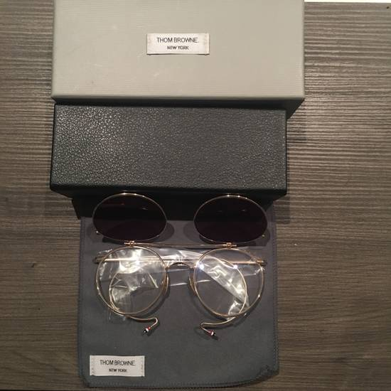 Thom Browne TB-002B-52 Gold Double Lens Round Sunglasses Size ONE SIZE - 1