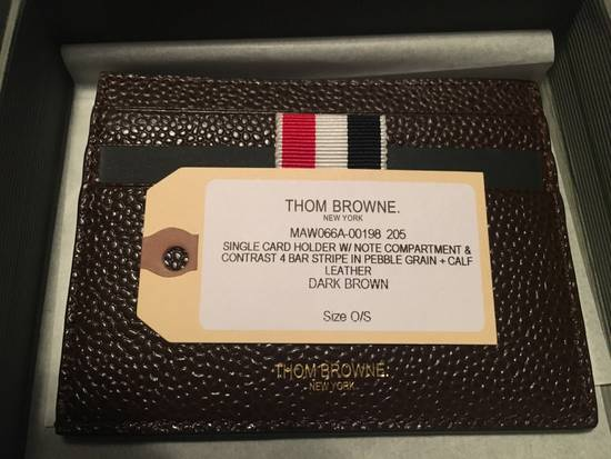 Thom Browne Card Holder w/Note Compartment in Dark Brown Pebble Leather Size ONE SIZE - 3