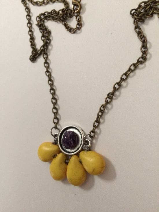 Handmade Yellow Turquoise Beads Bronze Necklace with Amethyst Size ONE SIZE - 1