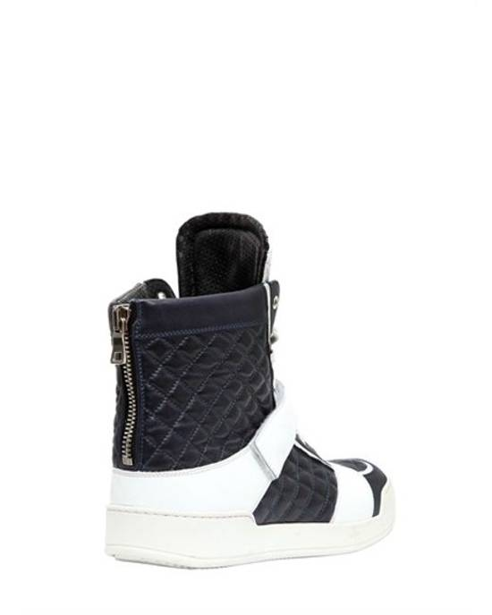 Balmain balmain navy + white quilted leather high tops Size US 11 / EU 44 - 1