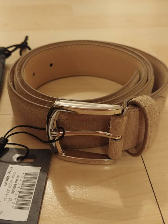 Balmain Balmain tan suede silver buckle belt Size 36