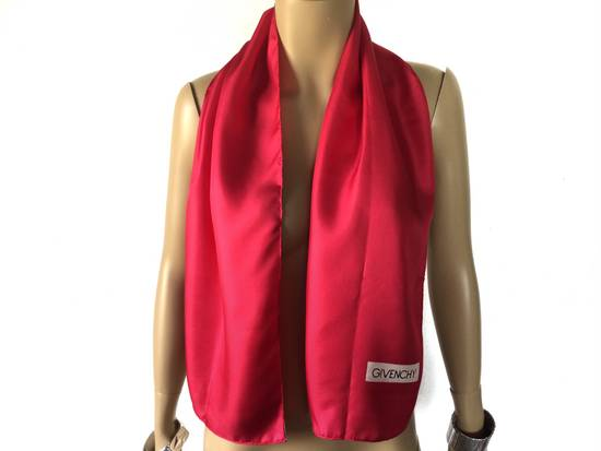 "Givenchy Vintage 90s Givenchy Red Plain Silk scarf muffler 11x50"" Size ONE SIZE"