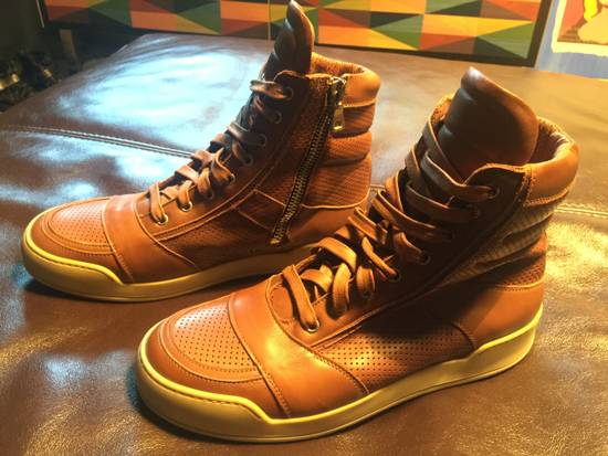 Balmain Hi Top Camel Leather Sneakers Size US 9 / EU 42 - 2