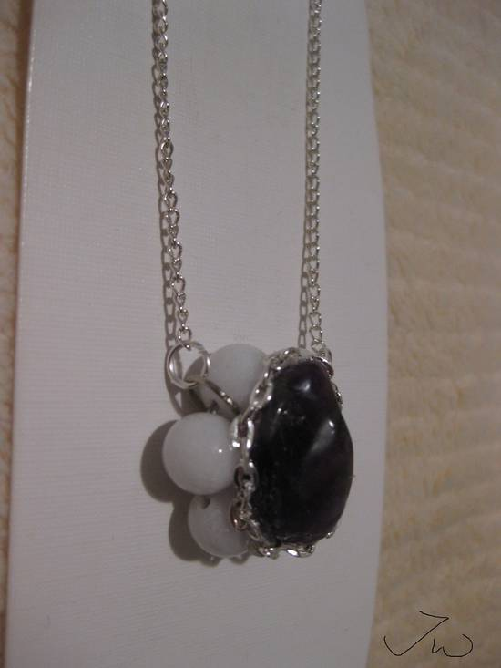 Jw Amethyst Stone Chain Necklace with Beads Size ONE SIZE - 2