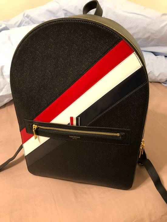 Thom Browne striped pebble grain leather backpack Size ONE SIZE