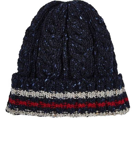 Thom Browne Thom Browne Navy Blue Beanie Donegal Beanie Cable Knit Wool Size ONE SIZE