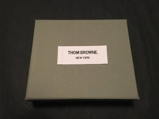 Thom Browne Card Holder w/Note Compartment in Dark Brown Pebble Leather Size ONE SIZE - 5