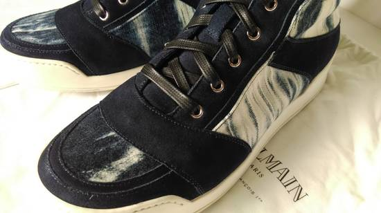 Balmain Balmain Leather/Canvas Marbled Navy Blue and White High Tops Size US 11.5 / EU 44-45 - 5