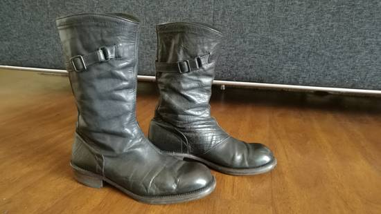 Julius 2008SS Black Horse Hide Tall Leather Strap Boots Size US 11 / EU 44 - 3