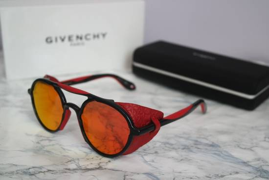 Givenchy NEW Givenchy 7038/S Leather Star Shield Round Black Red Mirrored Sunglasses Size ONE SIZE