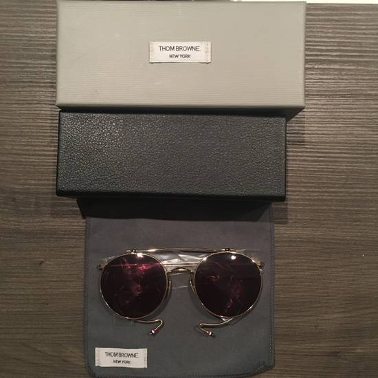 Thom Browne TB-002B-52 Gold Double Lens Round Sunglasses Size ONE SIZE