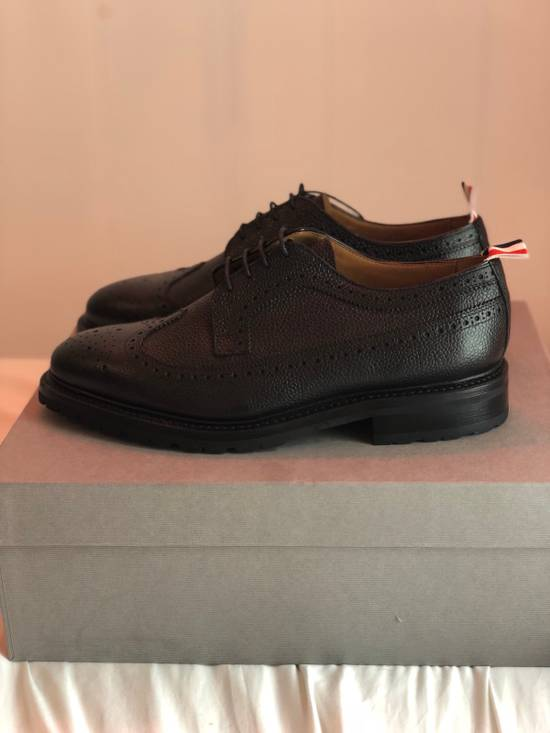 Thom Browne Classic Longwing Brogues With Boot Sole In Black Pebble Grain Leather Size US 9.5 / EU 42-43