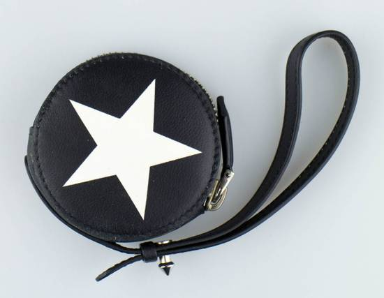 Givenchy Men's Black & White Leather Star Print Coin Pouch Size ONE SIZE - 2