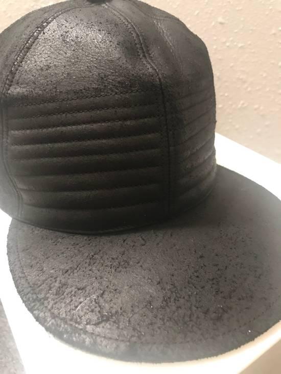 Julius MA_ JULIUS ULTRA RARE BLACK COATED LAMB SKIN LEATHER BASEBALL CAP HAT Size ONE SIZE - 14