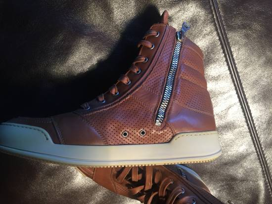 Balmain Hi Top Camel Leather Sneakers Size US 9 / EU 42 - 1