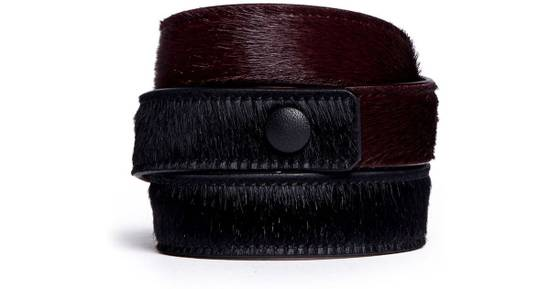 Givenchy GIVENCHY Black Calf-Hair Obsedia 3 Wrap Bracelet Size ONE SIZE - 2