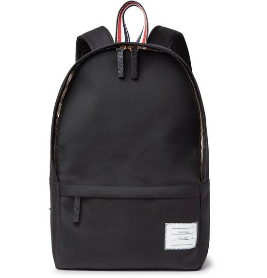 Thom Browne Pebble-Grain Leather-Trimmed Nylon Backpack Size ONE SIZE