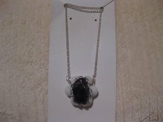 Jw Amethyst Stone Chain Necklace with Beads Size ONE SIZE