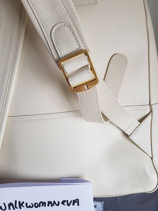 Thom Browne Leather Tennis Collection contrast bar stripe backpack white pebble grain Size ONE SIZE - 3