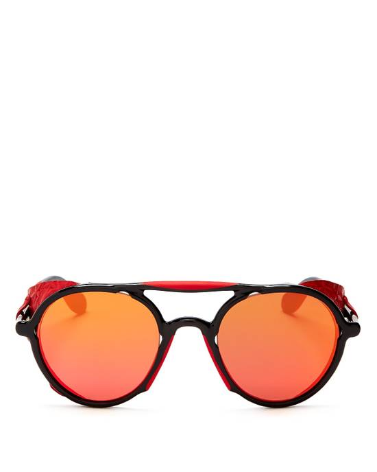 Givenchy NEW Givenchy 7038/S Leather Star Shield Round Black Red Mirrored Sunglasses Size ONE SIZE - 6