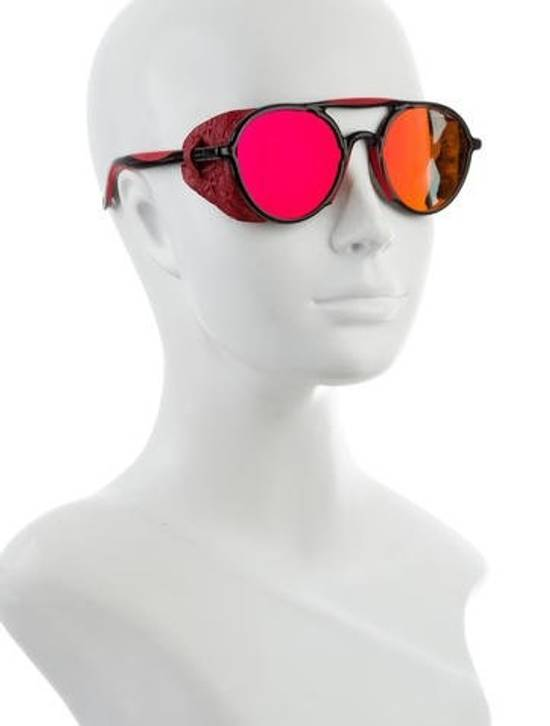 Givenchy NEW Givenchy 7038/S Leather Star Shield Round Black Red Mirrored Sunglasses Size ONE SIZE - 3