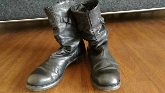 Julius 2008SS Black Horse Hide Tall Leather Strap Boots Size US 11 / EU 44 - 7