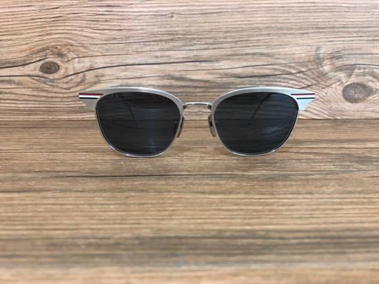 Thom Browne Brand New Thom Browne TB-104 B Satin Silver Sunglasses Size ONE SIZE - 1