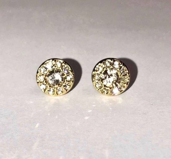 Givenchy Givenchy Gold Tone Round Earrings Crystal Diamonds Size ONE SIZE