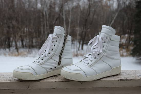 Balmain White Leather High Top Size US 10 / EU 43 - 2