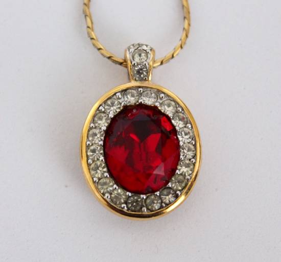 Givenchy Gold Plated Red Crystal Necklace Size ONE SIZE