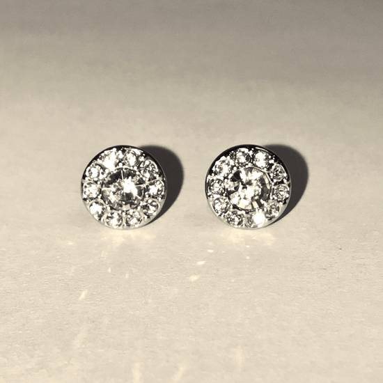 Givenchy Givenchy Silver Round Earrings Crystal Diamonds Size ONE SIZE