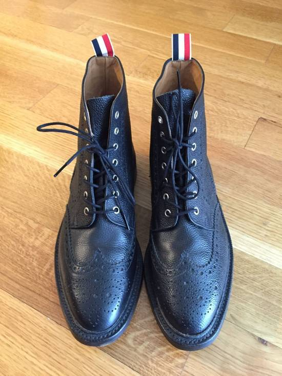 Thom Browne Black Leather Brogue Boots Size US 12 / EU 45 - 1