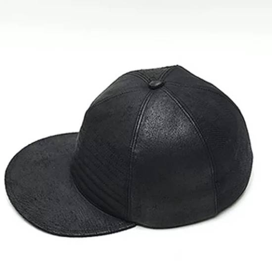 Julius MA_ JULIUS ULTRA RARE BLACK COATED LAMB SKIN LEATHER BASEBALL CAP HAT Size ONE SIZE - 1