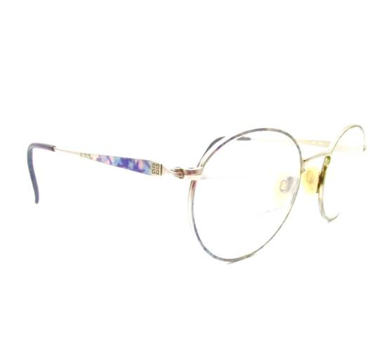 Givenchy Vintage 90s Gold Round Givenchy Frames Pink Blue Purple Eyeglasses Glasses Not Cartier Gucci Saint Laurent Fendi Dior Versace Size ONE SIZE - 1