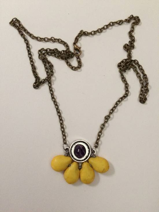 Handmade Yellow Turquoise Beads Bronze Necklace with Amethyst Size ONE SIZE