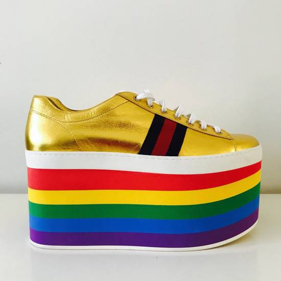 Gucci Gold Rainbow Sneakers Size US 9 / EU 42 - 3