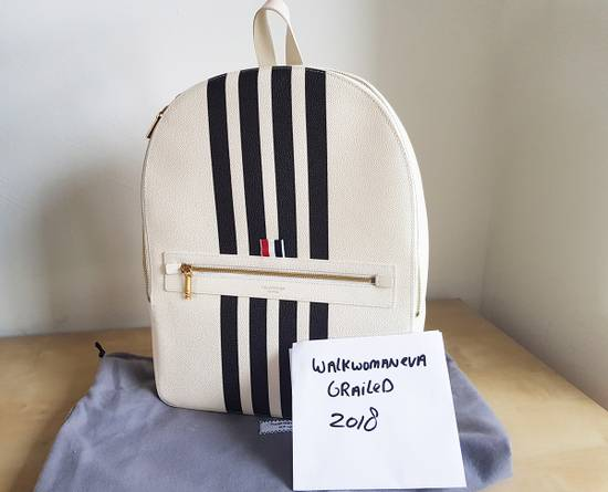 Thom Browne Leather Tennis Collection contrast bar stripe backpack white pebble grain Size ONE SIZE