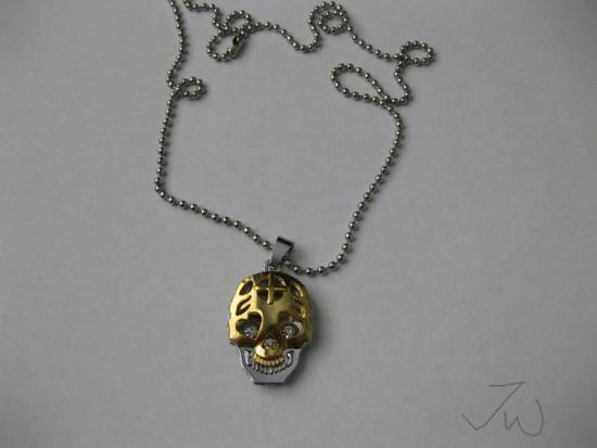 Handmade Gold Skull Pendant Stainless Steel Necklace Size ONE SIZE