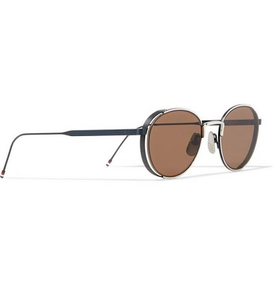 Thom Browne NEW Thom Browne TB-106 E Silver - Navy Dark Brown Sunglasses 50-21-145mm round Size ONE SIZE - 2