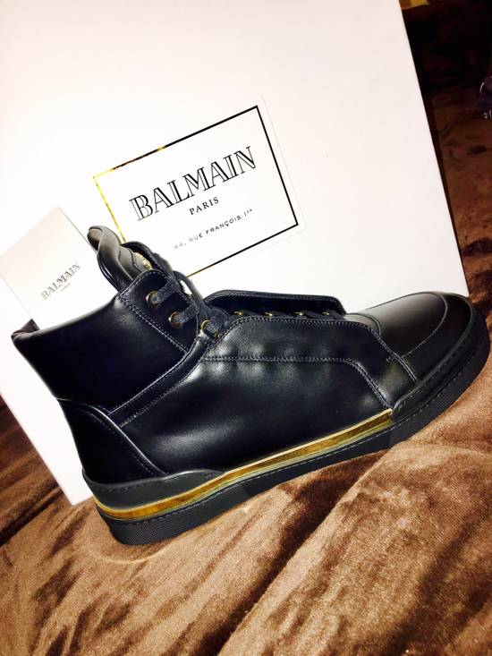 Balmain Balmain Black Leather Atlas High-Top Sneakers Size US 12 / EU 45