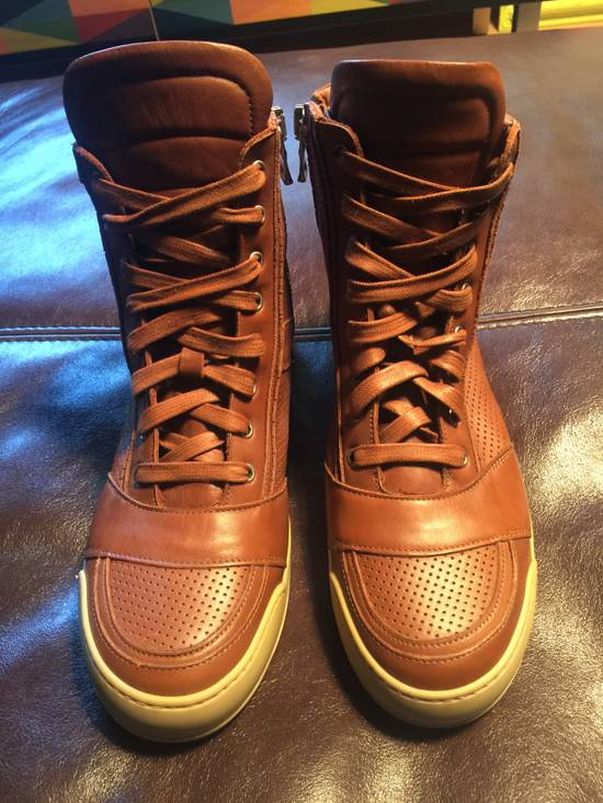 Balmain Hi Top Camel Leather Sneakers Size US 9 / EU 42
