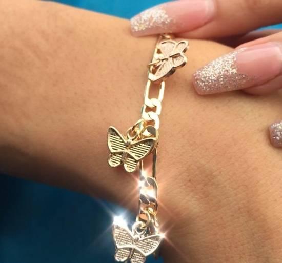 Unknown 14k gold butterfly charm bracelet Size ONE SIZE - 2
