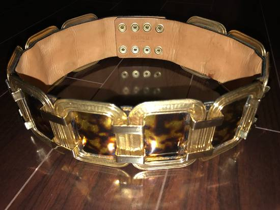 Balmain Laminated Leather And Gold Brass Statement Belt Size 30 - 1