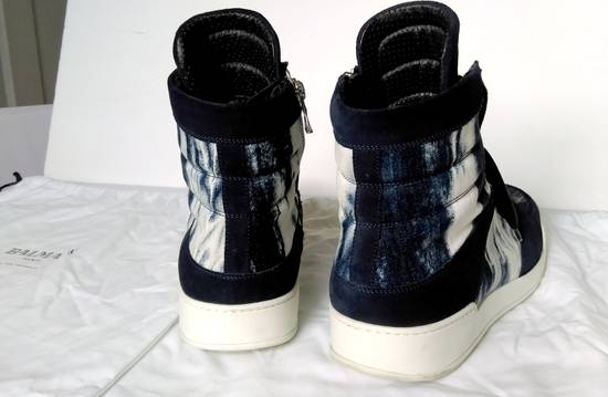 Balmain Balmain Leather/Canvas Marbled Navy Blue and White High Tops Size US 11.5 / EU 44-45 - 4